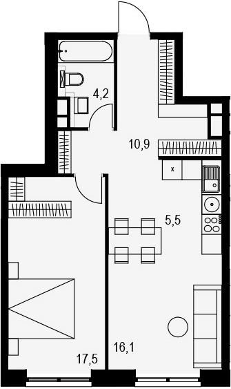 2Е-комнатная, 54.2 м²– 2