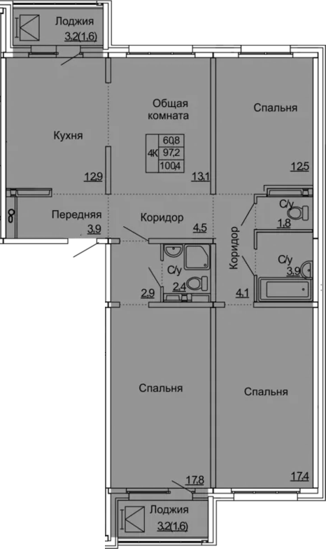 4-к.кв, 100.4 м²