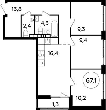 4Е-к.кв, 67.1 м², 11 этаж