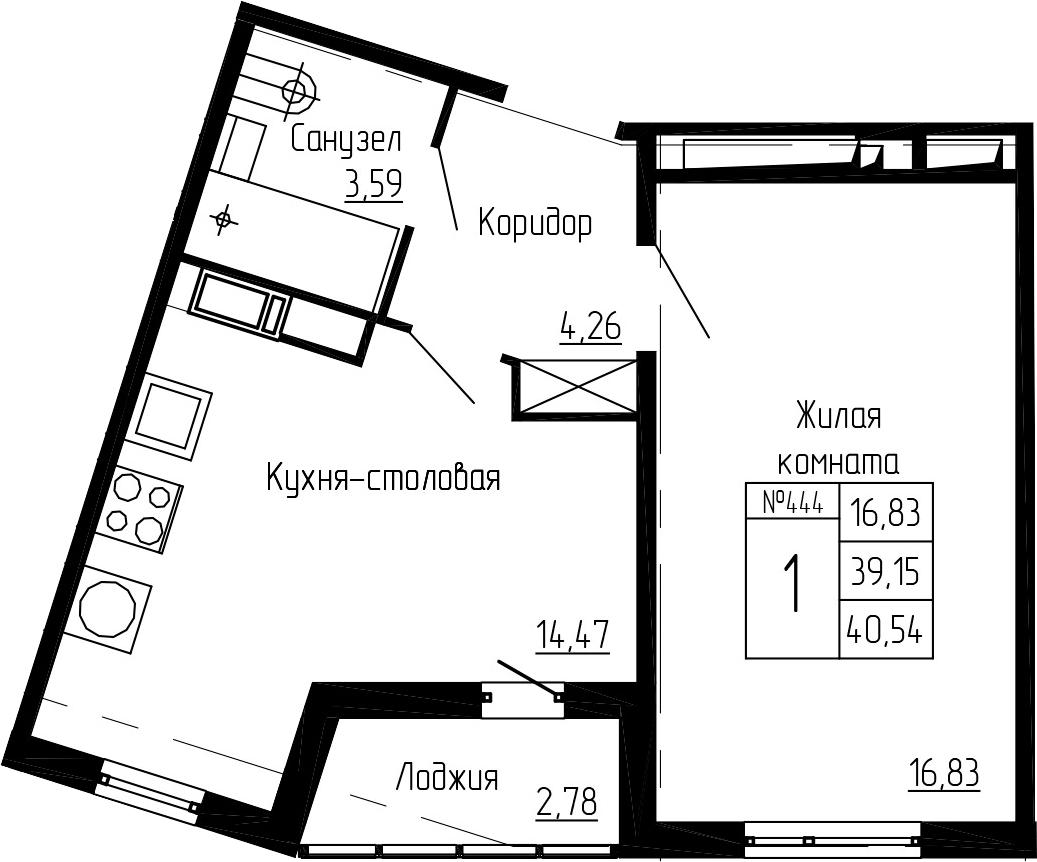 1-комнатная, 40.54 м²– 2