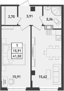 1-к.кв, 41.5 м², от 4 этажа