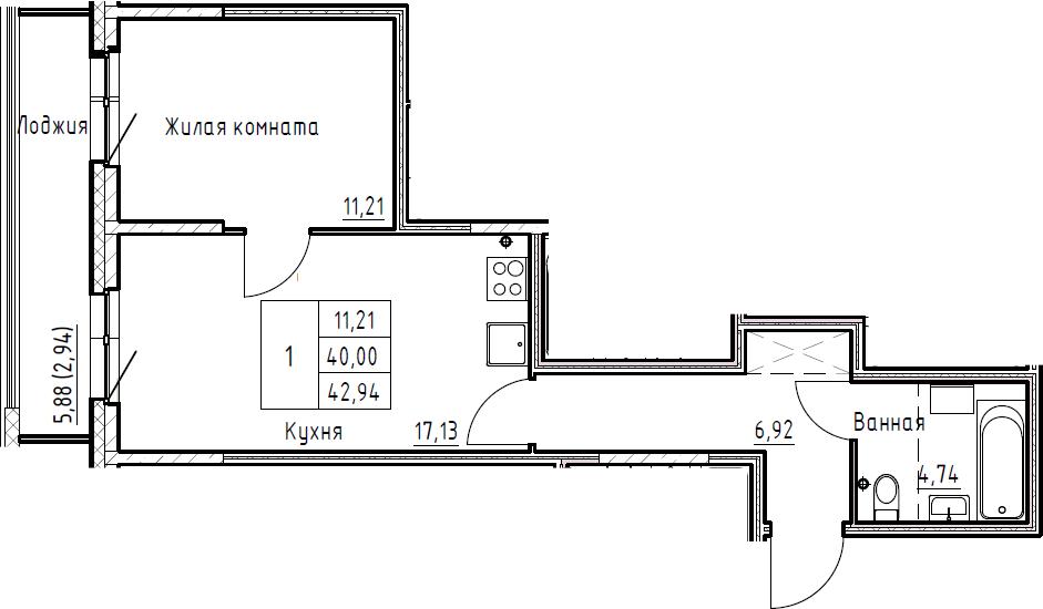2Е-к.кв, 42.94 м², 3 этаж
