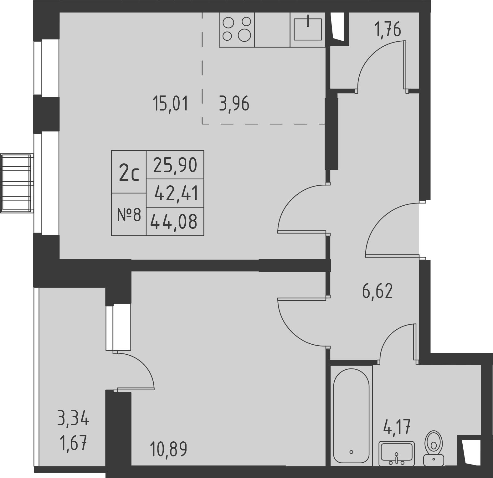 2-к.кв (евро), 45.75 м²