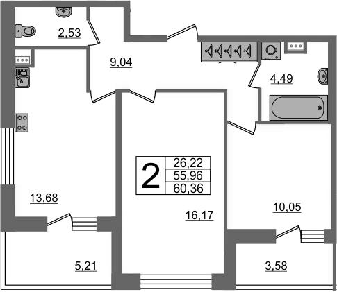 2-к.кв, 64.75 м²