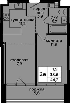 2Е-к.кв, 44.2 м², 20 этаж