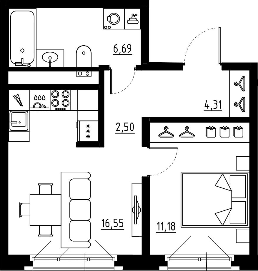 2Е-к.кв, 41.23 м², 9 этаж