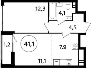 2Е-комнатная, 41.1 м²– 2