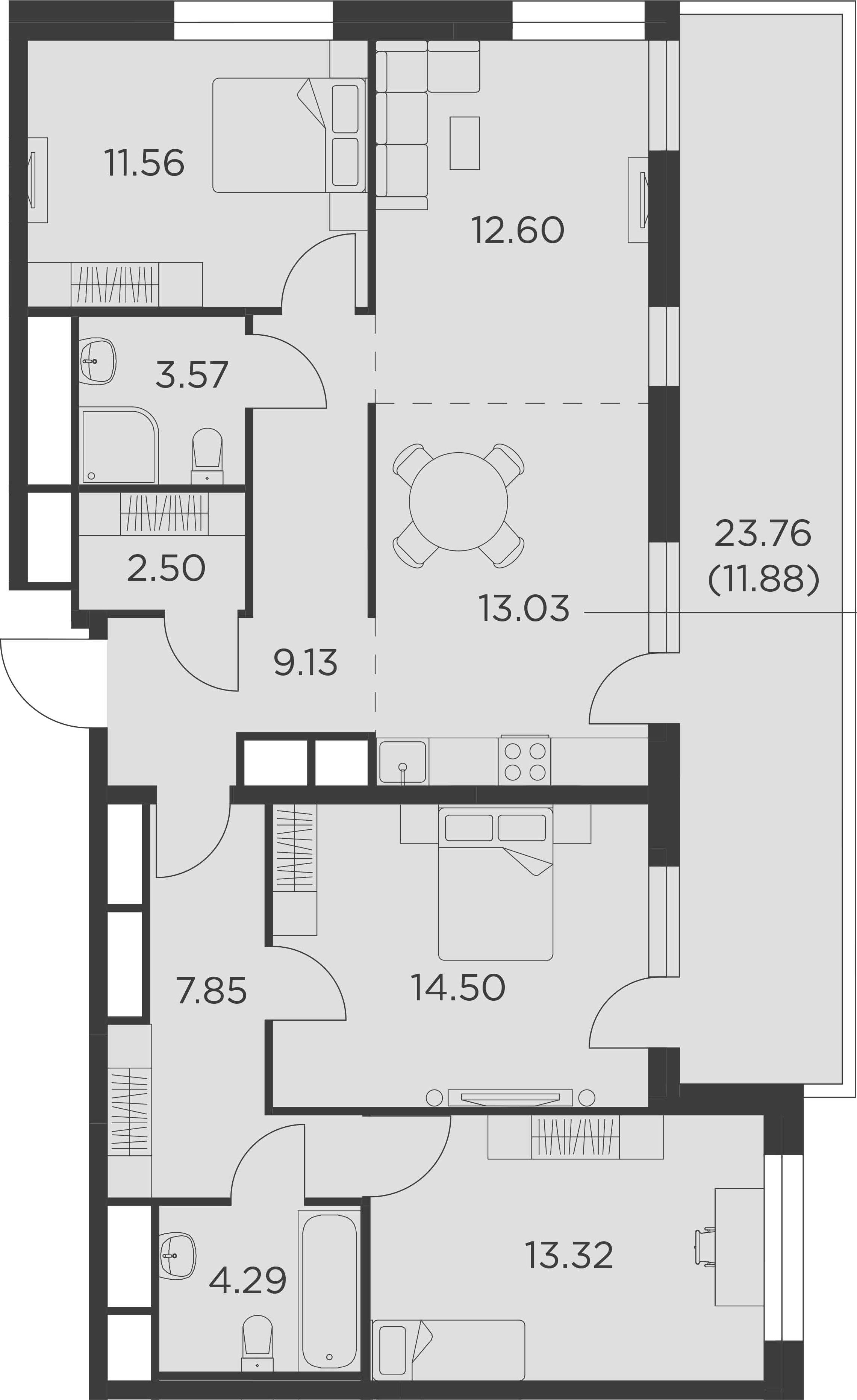 4Е-комнатная, 104.23 м²– 2