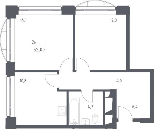 2-к.кв, 52 м²