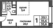 Студия, 35.6 м², 8 этаж