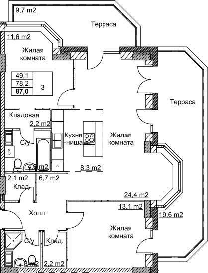 3Е-комнатная, 86.99 м²– 2