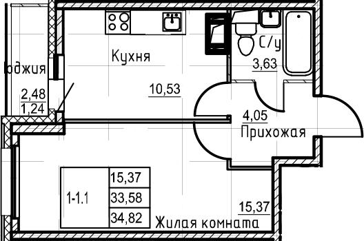1-к.кв, 36.06 м²