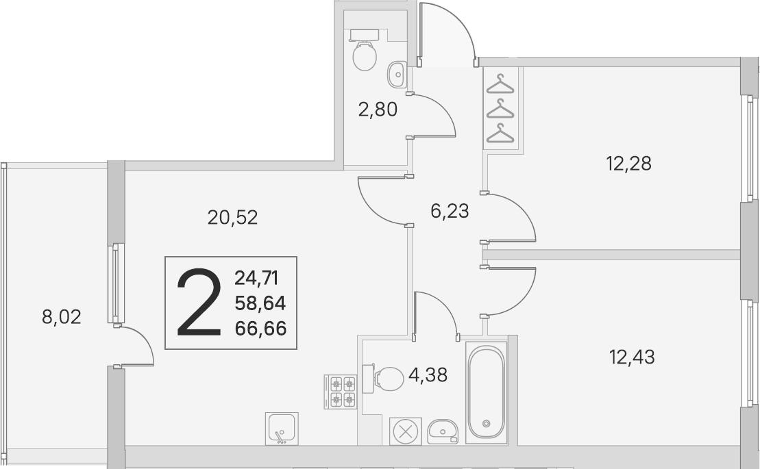 3Е-комнатная, 58.64 м²– 2