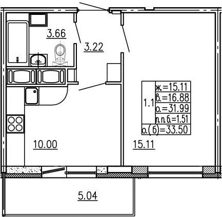 1-к.кв, 31.99 м²