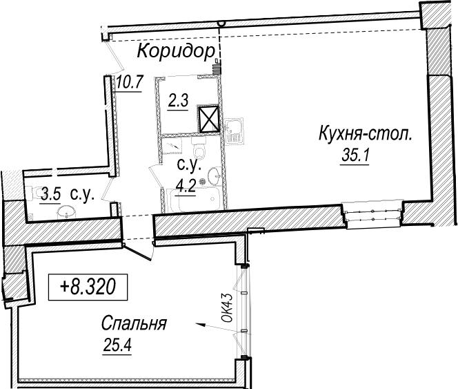 2-к.кв (евро), 81.2 м²