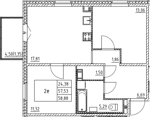 3Е-к.кв, 58.88 м², 2 этаж