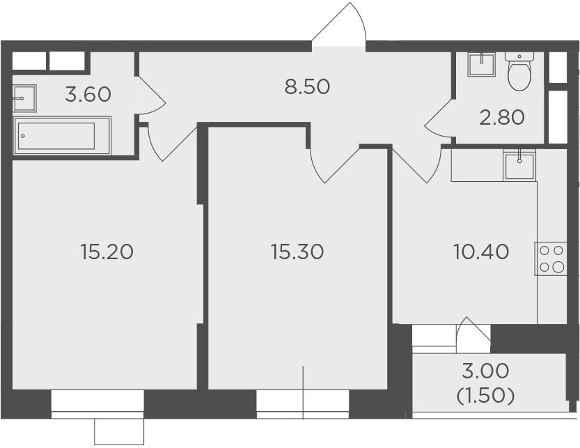 2-комнатная, 57.3 м²– 2