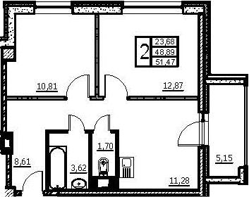 2-к.кв, 54.04 м²