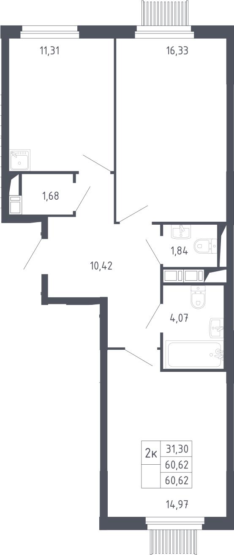 2-комнатная, 60.62 м²– 2