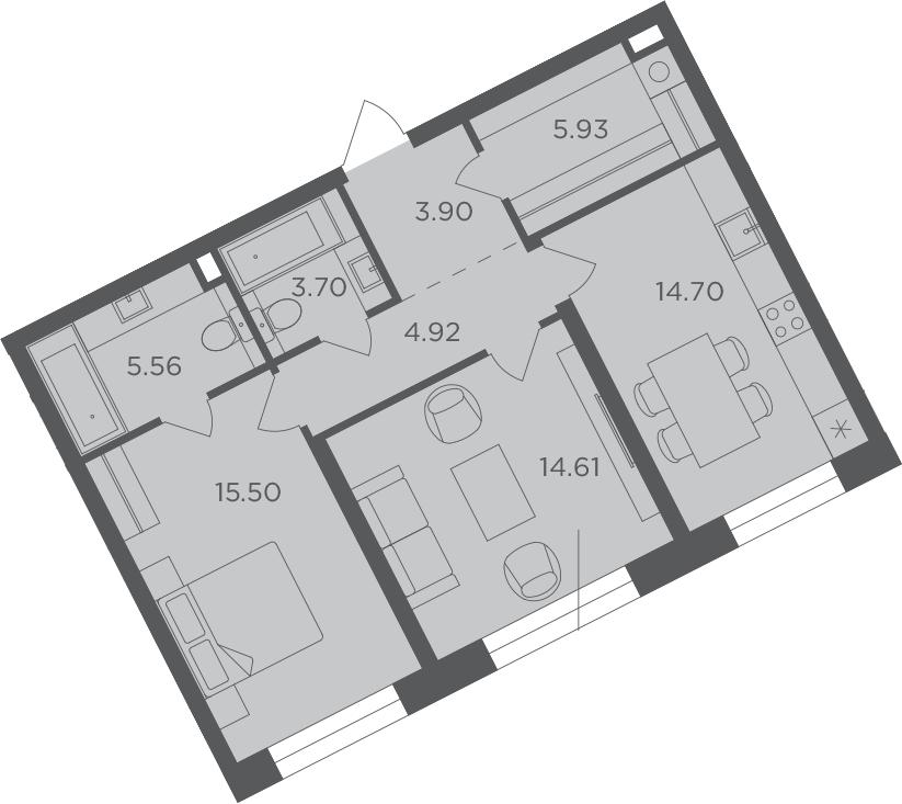 2-к.кв, 68.82 м², 2 этаж