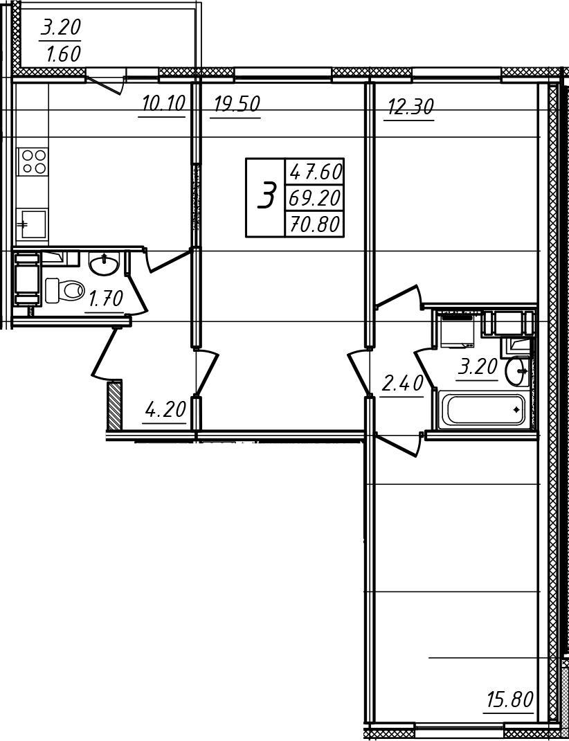3-к.кв, 70.8 м²