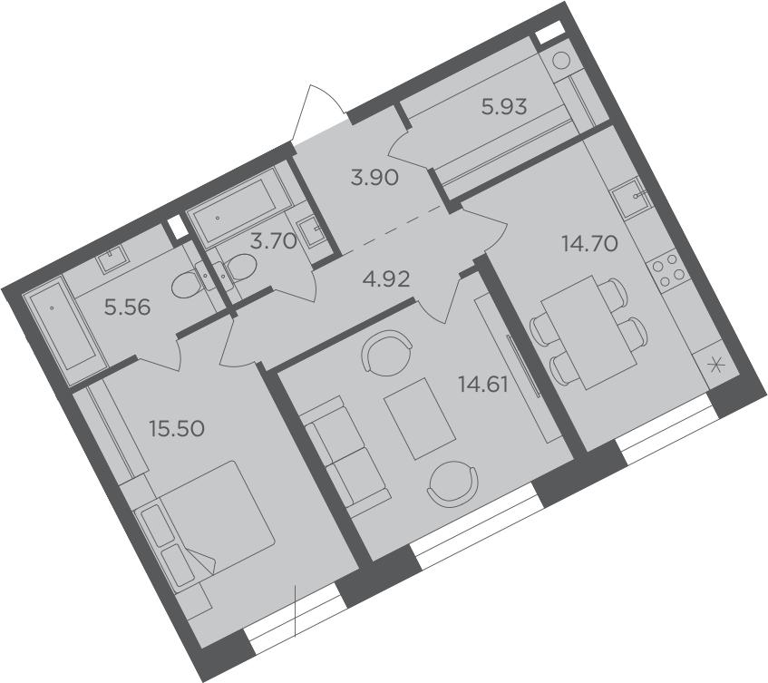 2-к.кв, 68.82 м², 5 этаж