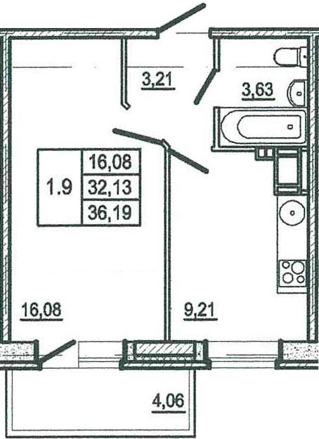 1-к.кв, 36.19 м²