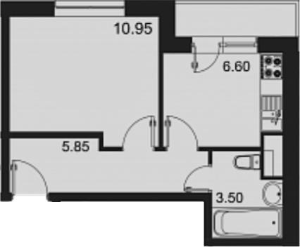 1-к.кв, 29.2 м²