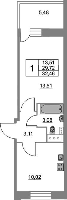 1-к.кв, 32.46 м², от 5 этажа