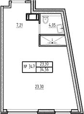 Студия, 34.56 м²– 2