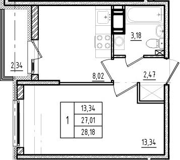 1-комнатная, 27.01 м²– 2