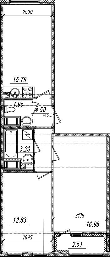 3Е-к.кв, 56.34 м², 12 этаж