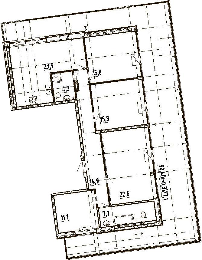 4Е-комнатная, 143.2 м²– 2
