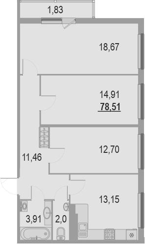 3-к.кв, 78.51 м², 22 этаж