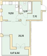 1-к.кв, 48.2 м²