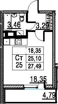 Студия, 29.89 м²