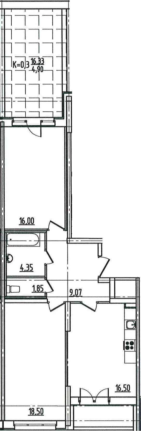3Е-к.кв, 72.88 м²