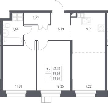 3Е-к.кв, 55.1 м², 16 этаж