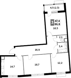 3-к.кв, 86.8 м², 1 этаж