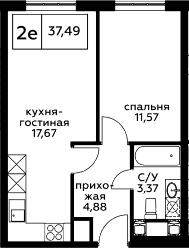 2Е-к.кв, 37.49 м², 24 этаж