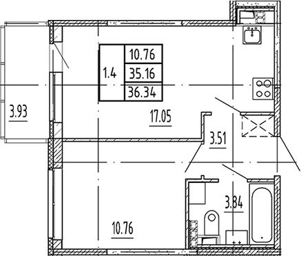 2Е-комнатная, 35.16 м²– 2