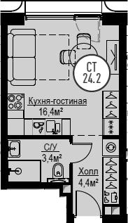 Студия, 24.2 м², от 4 этажа