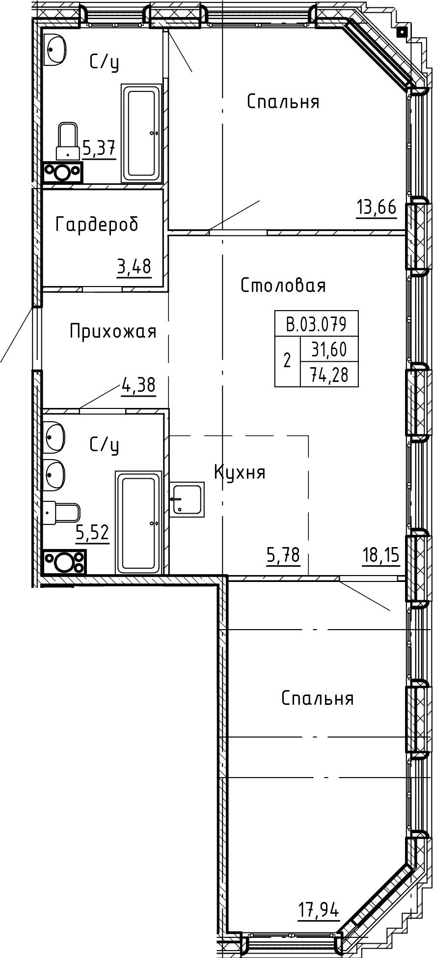 3Е-комнатная, 74.28 м²– 2