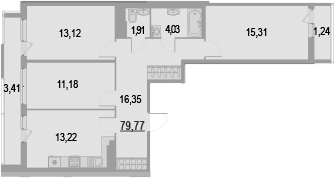 3-к.кв, 84.42 м²
