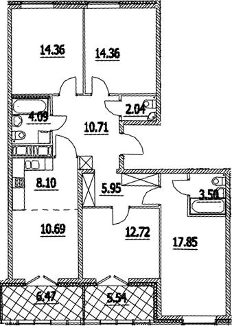 5Е-комнатная, 110.38 м²– 2