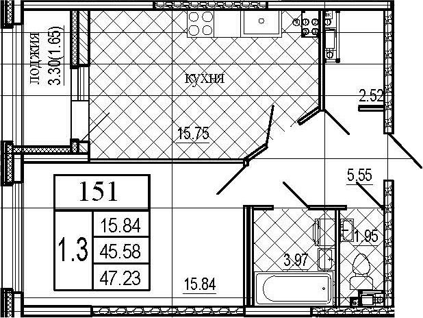 2Е-комнатная, 47.23 м²– 2
