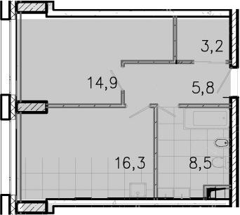 2-к.кв (евро), 48.6 м²