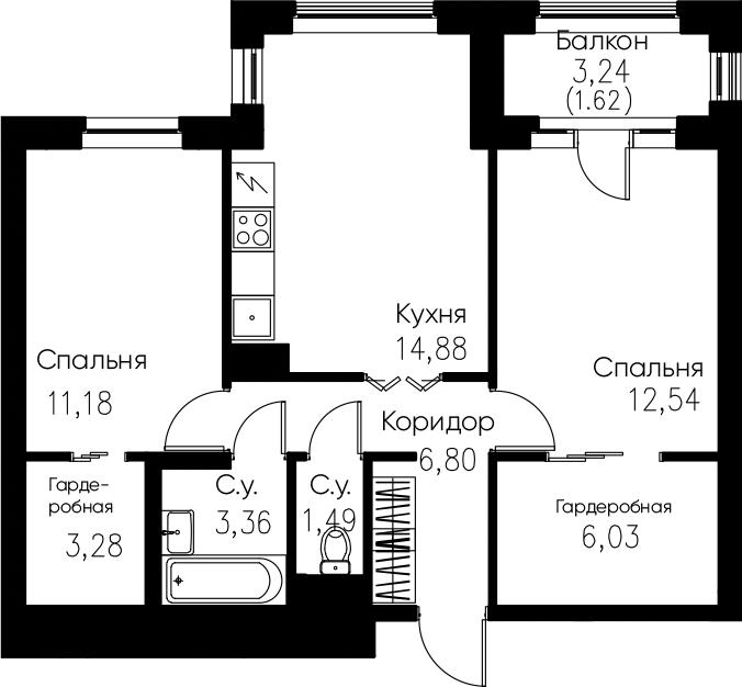2-комнатная, 61.18 м²– 2