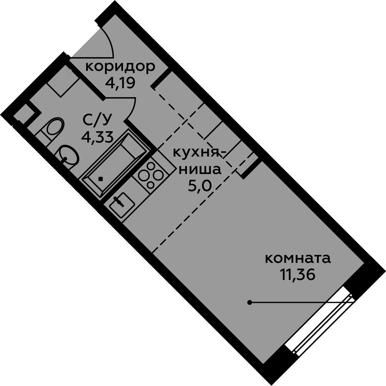Студия, 24.88 м²