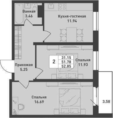 2-к.кв, 52.85 м², от 4 этажа